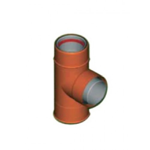 Tub T cos exterior aluminiu maro D8 cm